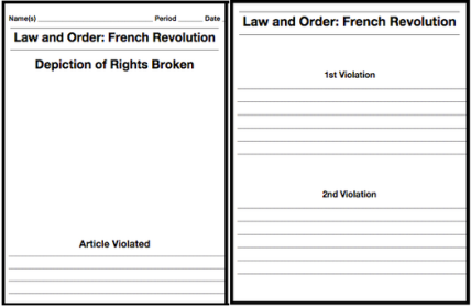 On the front, students write the article broken and draw an image of Robespierre breaking it. On the back, students write up to two ways that Robespierre violated the specific right.